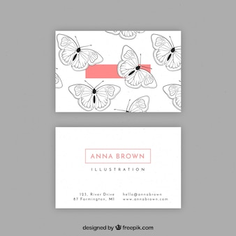 Business card with hand drawn butterflies