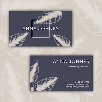 Business card with hand drawn leaves