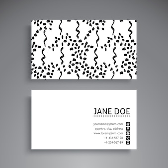 Business card with hand drawn lines and dots