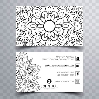 Business card with hand drawn mandala