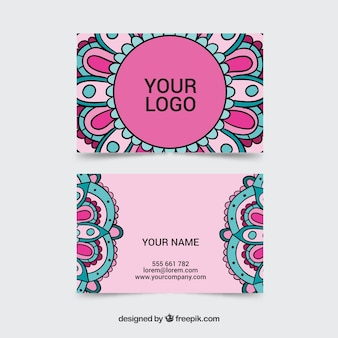 Business card with hand drawn mandalas