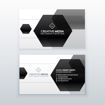Business card with hexagons