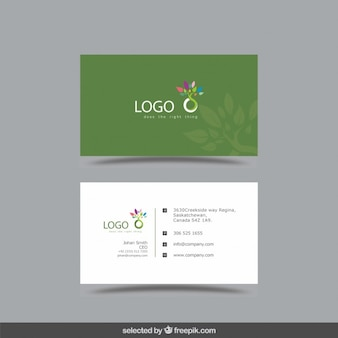 Business card with leaves