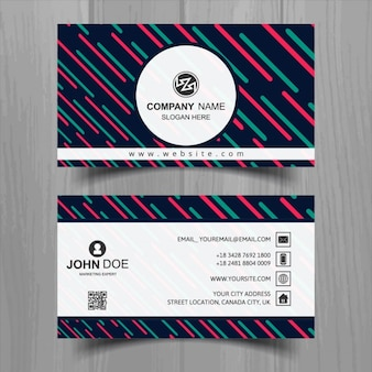Business card with lines