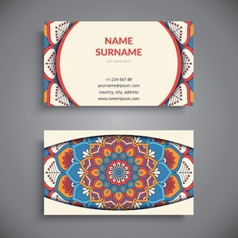 Business card with mandala, boho style