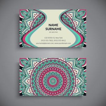 Business card with mandala ornaments