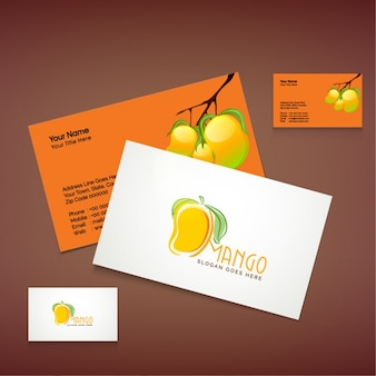 Business card with mango fruit