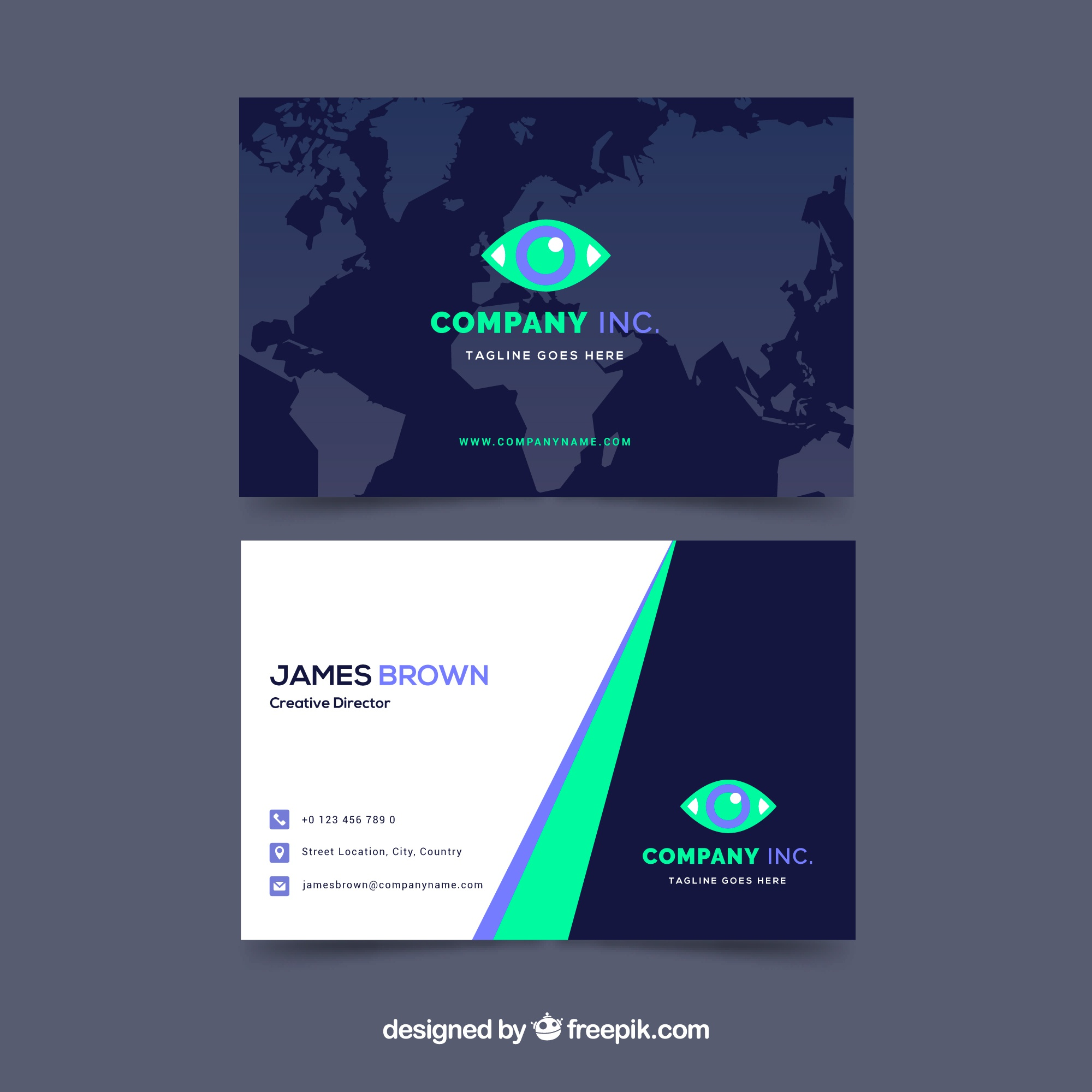 Business card with map