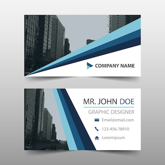 Business card with modern blue shapes