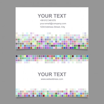 Business card with multicolored pixelated shapes