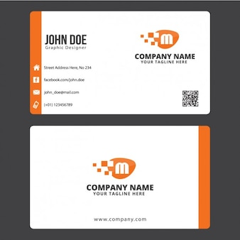 Business card with orange details