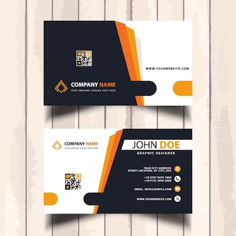 Business card with orange lines