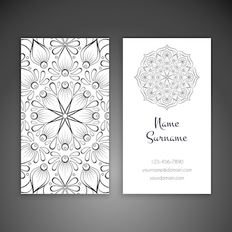 Business card with ornamental drawings