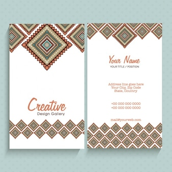 Business card with ornamental squares
