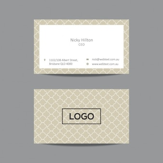 Business card with pattern in color beige