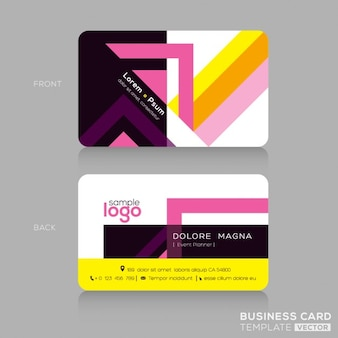 Business card with pink and yellow geometric shapes