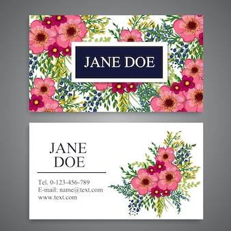 Business card with pink flowers