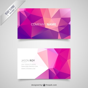 Business card with pink polygons