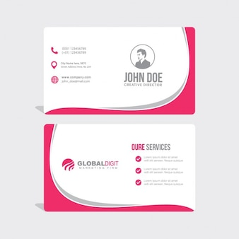 Business card with pink wavy shapes