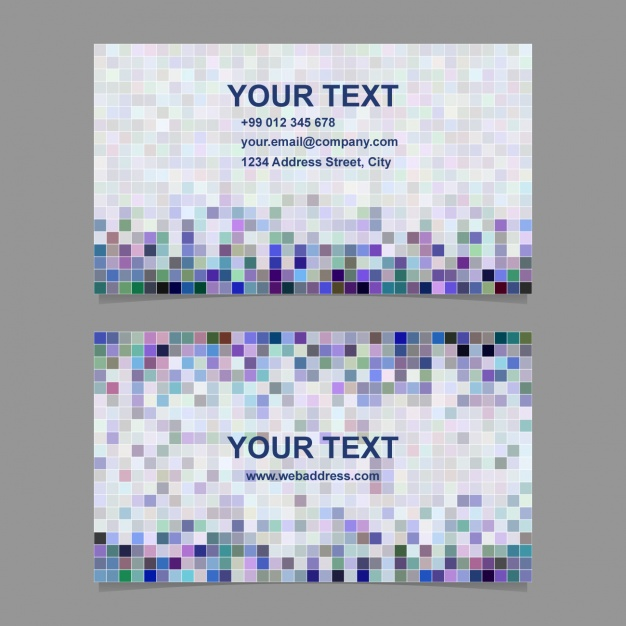 Business card with pixels