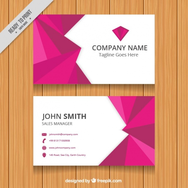 Business card with purple geometric shapes