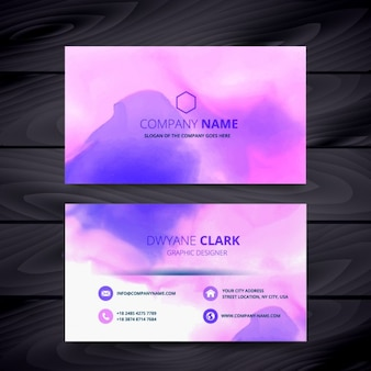 Business card with purple watercolor ink