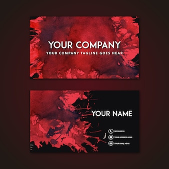 Business card with red abstract design