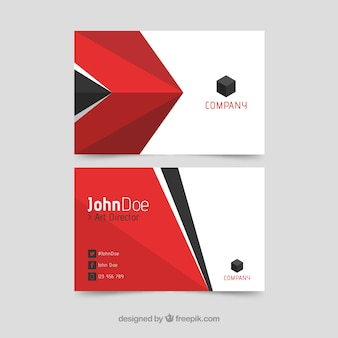 Business card with red and black shapes