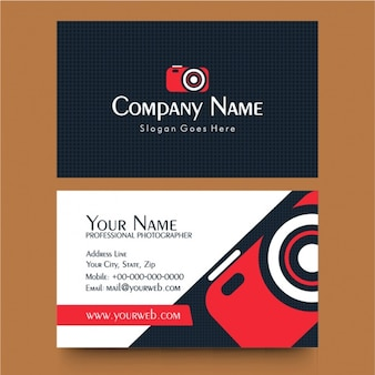 Business card with red camera for photographer