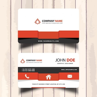 Business card with red geometric shapes