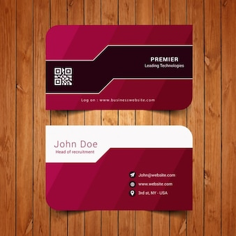 Business card with stripes in garnet tones