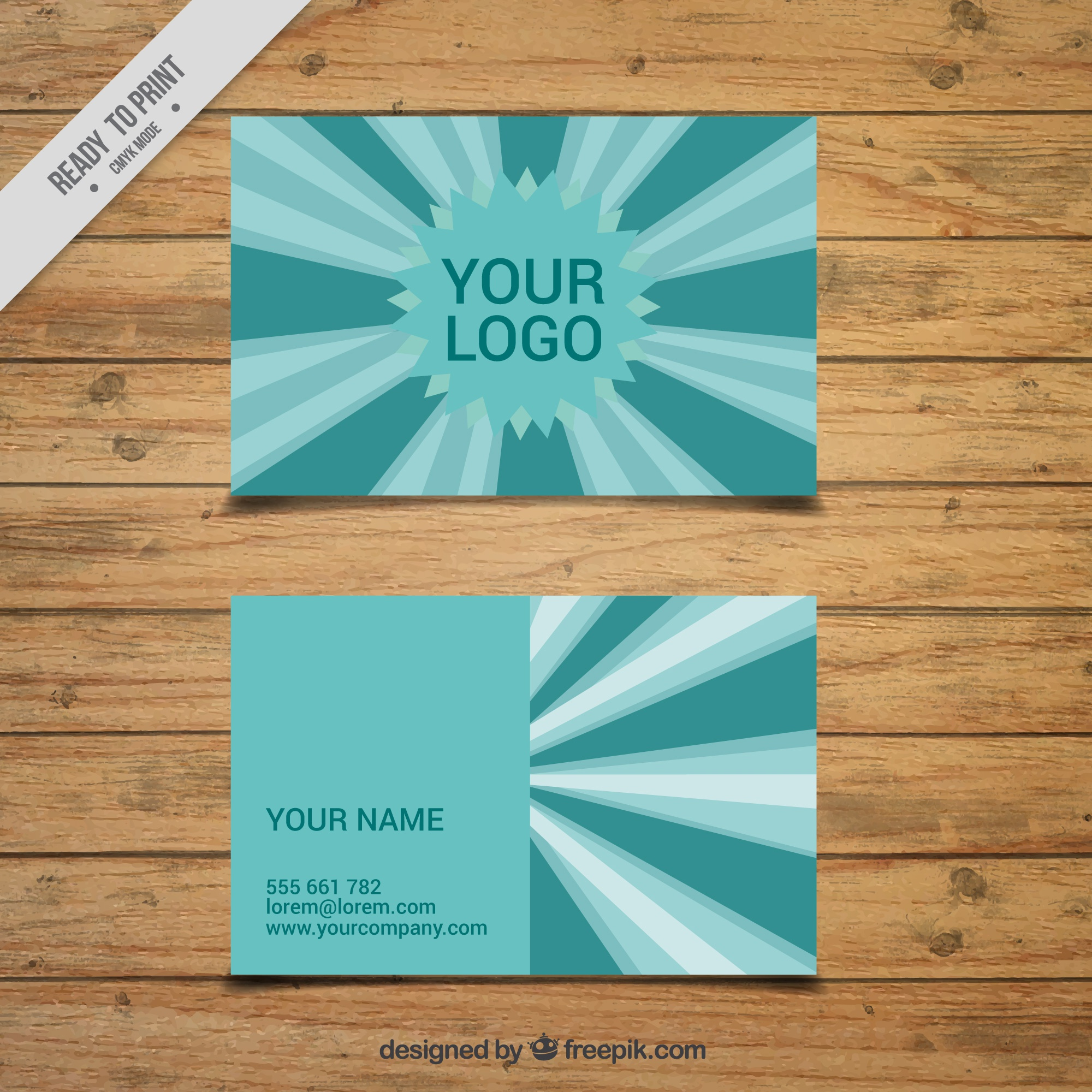 Business card with stripes in green tones