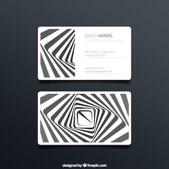 Business card with stripes