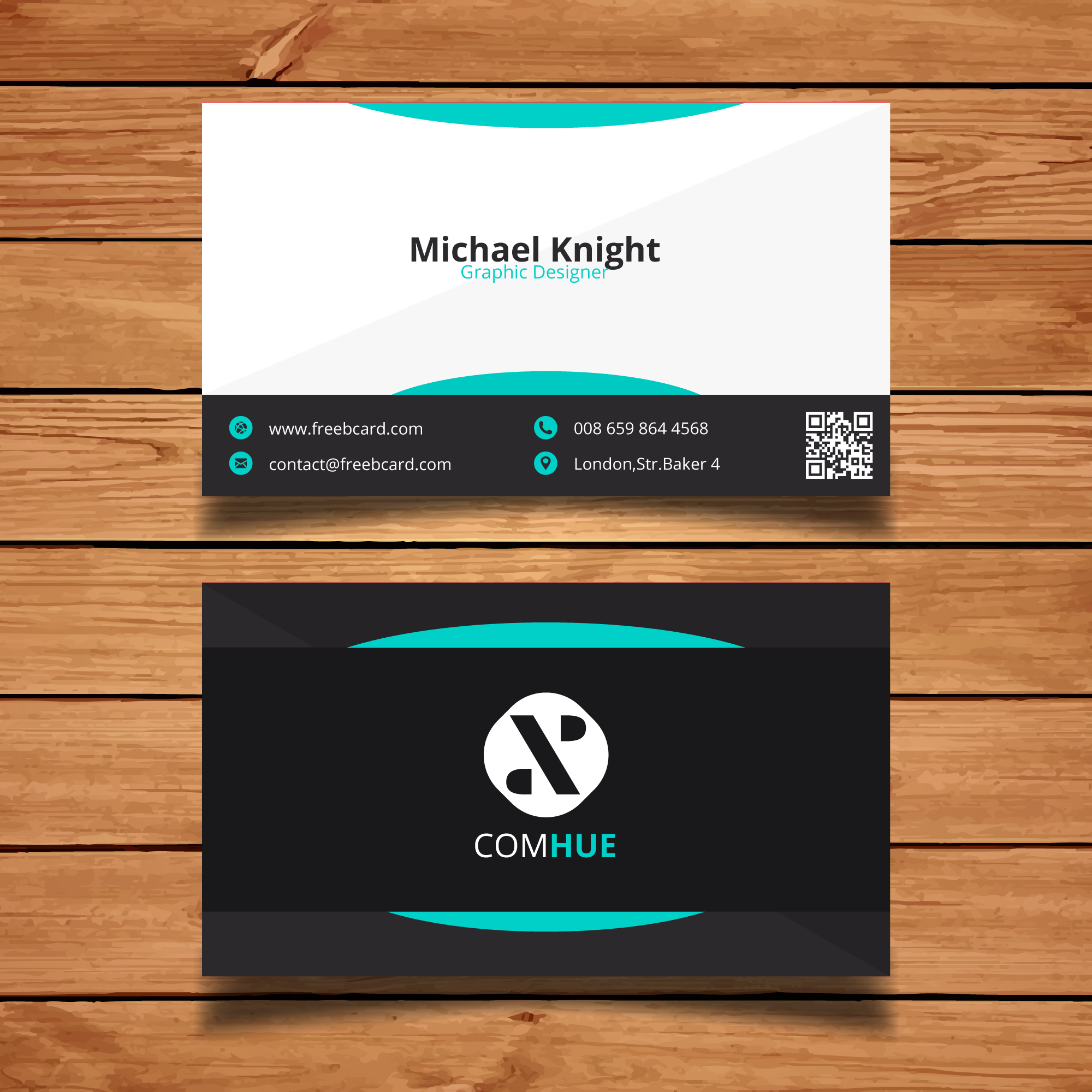 Business card with turquoise abstract shapes