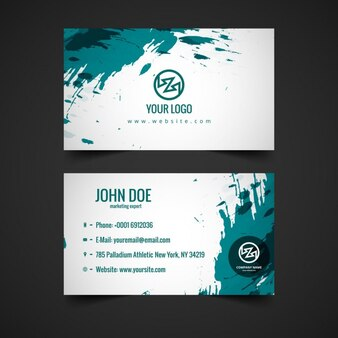 Business card with turquoise stains