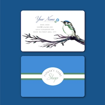 Business Card with Water Color Bird