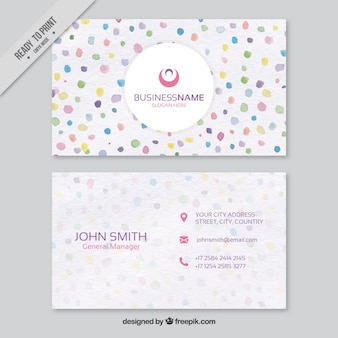 Business card with watercolor decorative circles
