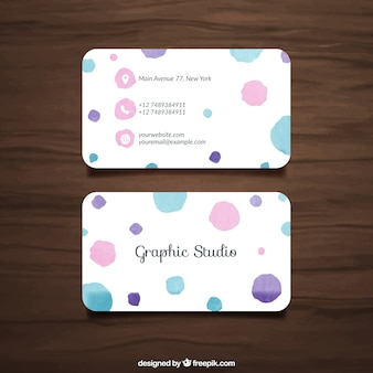 Business card with watercolor dots
