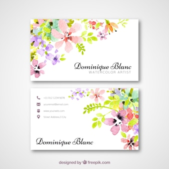 Business card with watercolor flowers