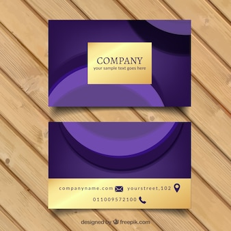 Business card with wavy forms and golden details