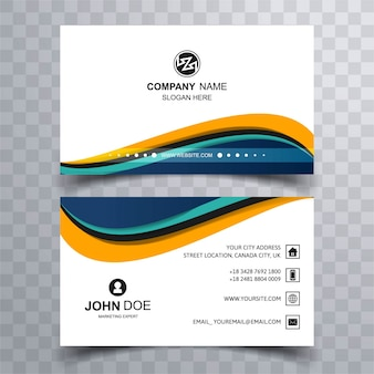 Business card with wavy shapes