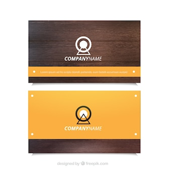 Business card with wood effect