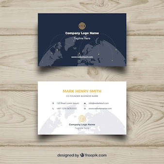 Business card with world globe