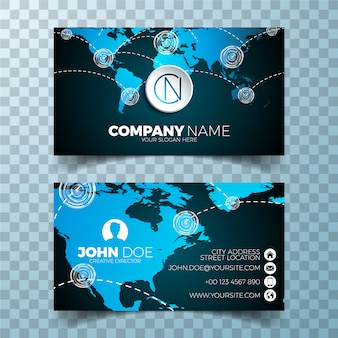 Business card with world map design