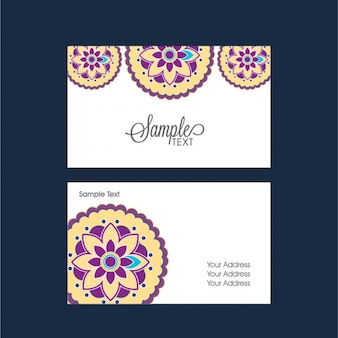 Business card with yellow and purple flowers