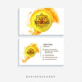 Business card with yellow circle and abstract stain