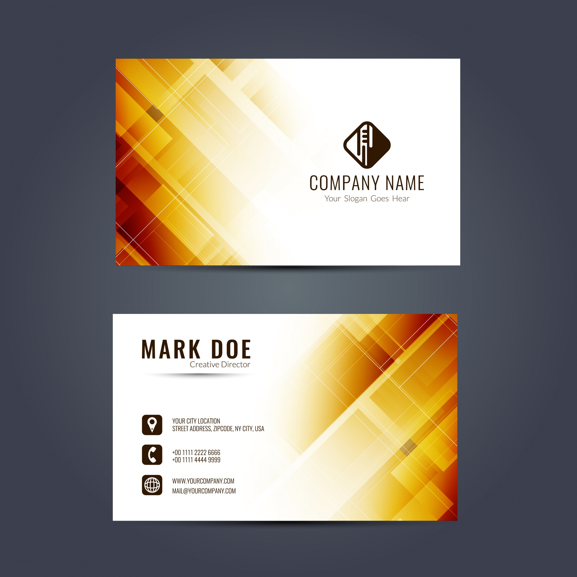 Business card with yellow geometric shapes