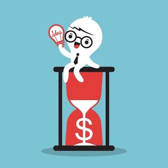 お金の概念の説明のために砂時計のアイデアの上に座って漫画のビジネスマン
