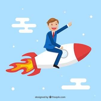 Business character flying in a rocket