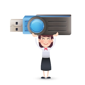 Business character with big usb